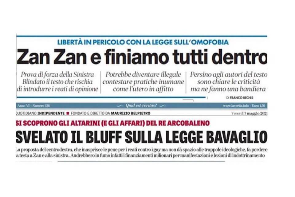"""DDL Zan, Il Tempo in prima pagina: """"Finiamo tutti in galera. Libertà in pericolo"""" (il tempo ddl zan 1)"""
